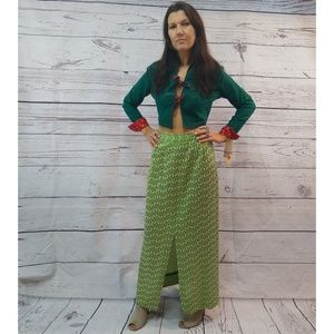 70s retro print maxi skirt with front split